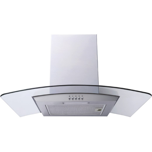 Prima 60/70/90cm Stainless Steel Curved Glass Chimney Hood