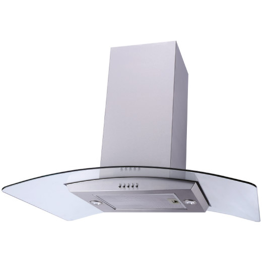 Prima 90cm Stainless Steel Curved Glass Island Hood